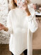 Casual Solid Color High Neck Plus Size Winter Sweater for Women - White