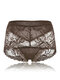 Sexy Soft Transparent Lace Embroidery Hollow Mid Waisted Thin Panties - Coffee