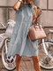 Stringy Selvedge Solid Color Sleeveless Casual Dress For Women - Grey
