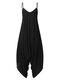 Solid Color Strap V-neck Plus Size Loose Jumpsuit for Women - Black