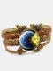Vintage Galaxy Starry Sky Pattern Butterfly Geometric Shape Hand-braided Glass PU Alloy Multi-layer Bracelet - #03