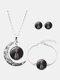 3 Pcs Printed Men Women Jewelry Set Wearing Garland Hollow Half Moon Necklace Bracelet Earring - #11