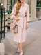 Solid Color Long Sleeve V-neck Knotted Midi Dress For Women - Pink