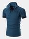 Mens Deer Chest Embroidery Contrast 100% Cotton Casual Golf Shirts - Blue