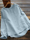 Calico Printed Ruffle Sleeve O-neck Blouse For Women - Blue