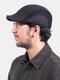 Men Wool Plus Thicken Winter Outdoor Keep Warm Patchwork Ear Protection Forward Hat Beret Hat Flat Hat - Dark Gray