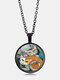 Vintage Glass Printed Women Necklace Cat Companion Pendant Necklace Jewelry Gift - Black