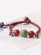 Vintage Ethnic Geometric-shape Beaded Braided Ceramics Alloy Elastic Rope Bracelets - #09