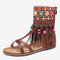 Embroidered Zipper Opened Toe Mid Claf Gladiator Sandals For Women - Brown
