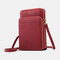 Women Multifunction Multi-Layers Removable Card Pocket Crossbody Bag Phone Bag - Red