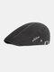 पुरुषों कपास सादा रंग समायोज्य आरामदायक फ्लैट टोपी आगे टोपी टोपी टोपी - काली