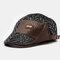 Men Woolen Leather Patchwork Fashion Beret Flat Cap Personality Forward Hat - Black