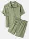 Mens Half Zip Lapel Top Solid Color Short Sleeve Windshirt Two Pieces Outfits - Green