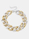 Vintage CCB Buckle Thick Chain Necklace Stitching Python Clavicle Chain - Gold