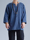 Mens Cotton Ethnic Solid Casual Long Sleeve T-Shirt - Navy