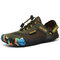 Men Outdoor Breathable Mesh Soft Bungee Closure Water Wadding Shoes - Green