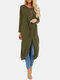Solid Color Long Sleeve O-neck Pleated Asymmetrical Midi Dress For Women - Army