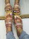Women Bohemian Ethnic Style Holiday Beach Cloth Clip Toe Slippers - Red