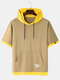Mens Colorblock Patchwork Breathable Loose Light Hooded T-Shirts - Khaki