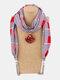 Vintage Chiffon Tassel Women Scarf Necklace Geometric Pendant Flower Leaf Pattern Shawl Necklace - #10