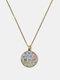 Geometric Round Glass Open Eyes Cat Print Women Pendant Necklace - Bronze