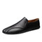 Men Cow Leather Non Slip Collapsible Heel Soft Sole Casual Driving Shoes  - Black
