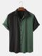男性非対称カラーマッチングカジュアル半袖シャツ - 緑