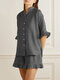 Solid Color Button Ruffle Half Sleeve Casual Set - Gray