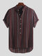Mens Ethnic Style Printed Stripe Stand Collar Short Sleeve Loose Henley Shirts - Orange Red