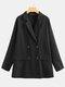 Frauen Vintage Einfarbig Revers Langarm Button Pocket Blazer - Schwarz