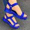 Tamanho grande feminino dedo aberto diariamente Soft sandálias rasteiras Gancho loop - azul