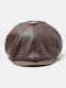 Men Faux Leather Retro Casual Solid Color Forward Hat Octagonal Hat Flat Cap - Coffee