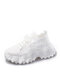 Running Wave Pattern Lace Up Platform Mesh Breathable Sneakers Women - White
