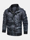 Mens PU Leather Motorcycle Down Lined Pocket Hooded Casual Jackets Coats - Blue
