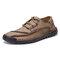 Menico Men Microfiber Leather Hand Stitching Soft Lace Up Casual Shoes - Khaki