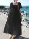 Casual Solid Color Big Swing Pockets Cotton Loose Dress - Black