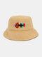 Women & Men Woolen Embroidery Fish Bone Cute Casual Bucket Hat - Yellow