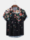 Mens Ethnic Floral Print Loose Casual Breathable Short Sleeve Shirts - Black