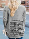 Letter Print Long Sleeves Casual Knitted Cardigans For Women - Gray