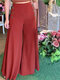 Solid Color Side Button High Waist Wide Leg Casual Pants - Wine Red