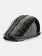 Men British Style Retro Stripe Pattern Casual Keep Warm Forward Hat Beret Hat - Black