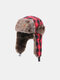 Men Cotton Dacron Plush Metal Badge Lattice Windproof Waterproof Thicken Ear Protection Cold-proof Trapper Hat - #03