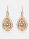 Bohemia Drop-Shape Women Earrings Hollow Pearl Inlaid Pendant Earrings Jewelry Gift - #02