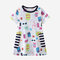 Girl's Cute Cartoon Striped Print Short Sleeves Casual Dress For 1-8Y - As Picture