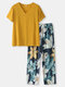 Women All Over Flower Print V-Neck Yellow Short Sleeve Pajama Sets - Yellow