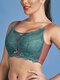 Mesh Patchwork Full Cup Wireless Lightly Lined Bra - Green