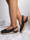 Plus Size Closed Toe Breathable Hollow Slingback Buckle Wedges Sandals For Women - Black