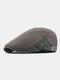 Men Cotton Patchwork Color Forward Hat Beret Hat Flat Cap - Army Green