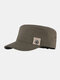 Men Cotton Star Print Patch Casual Outdoor Sunshade Military Hat Flat Hat Peaked Cap - Green