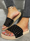 Women Crystals Hollow-out Comfy Pool Shoes Casual Striped Slippers - Black-crystals